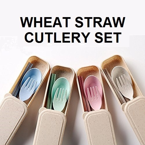 Beihe Wheatstraw Cutlery Set with Spoon, Fork and Chopstick