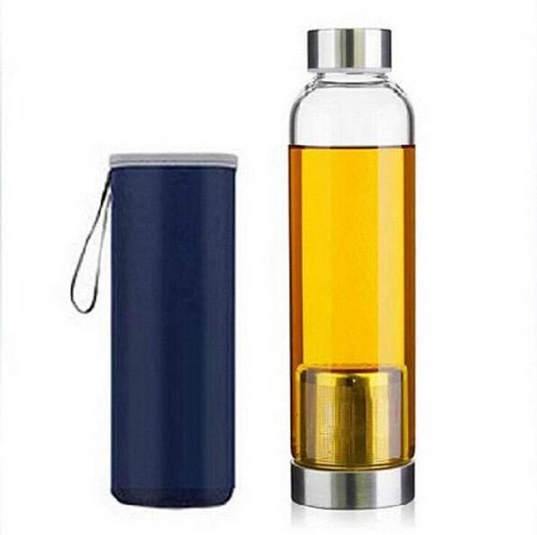 Tea Infuser Glass Bottle with Neoprene Sleeve 550ml
