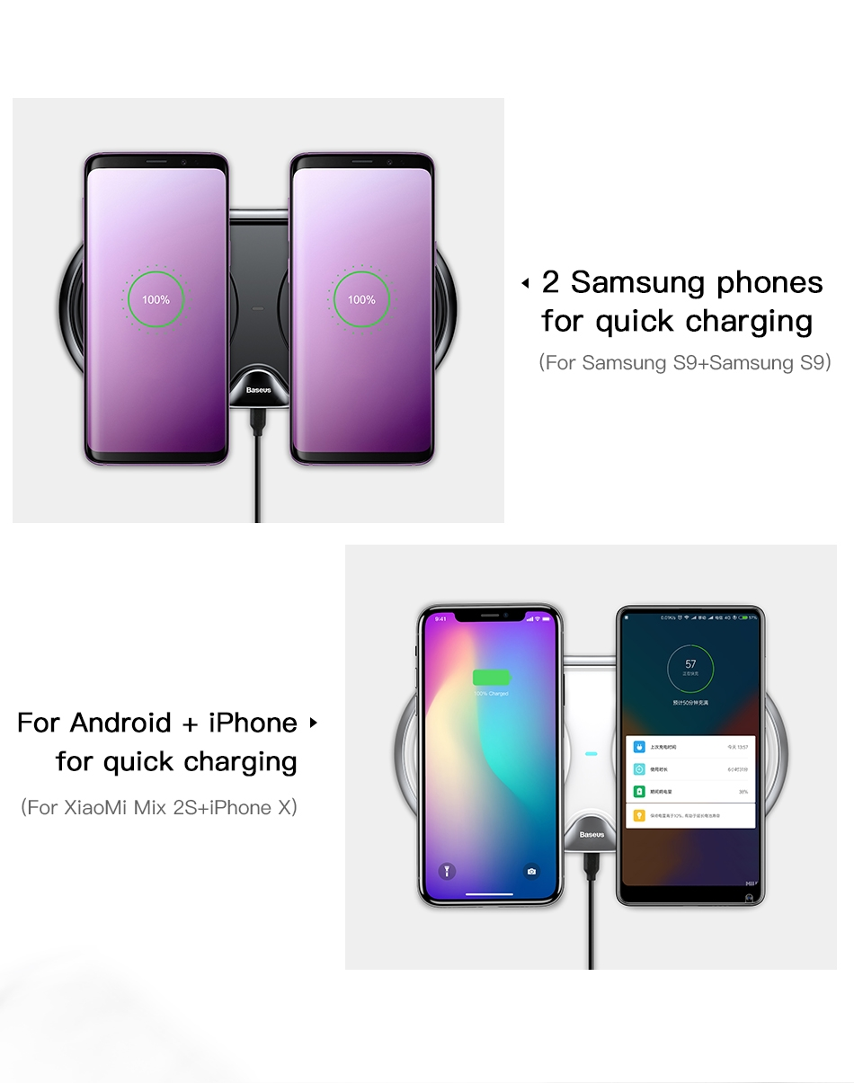 Baseus 10W Fast Dual Wireless Charger Charging Pad