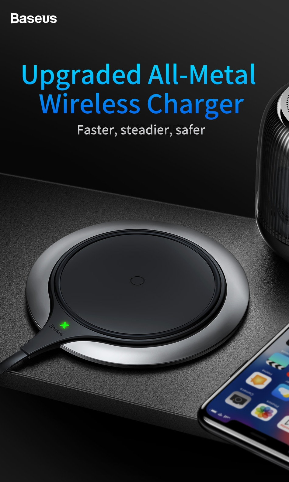 Baseus Metal Wireless Charger Desktop Charging Mat Pad