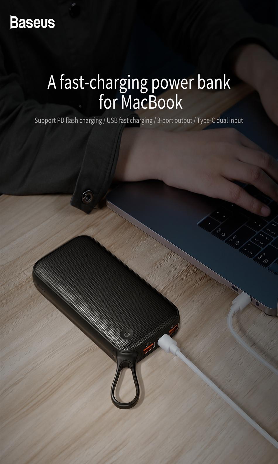 Baseus Powerful Portable 20000mAh QC3.0 Powerbank Power Bank Dual Usb External Battery Charger