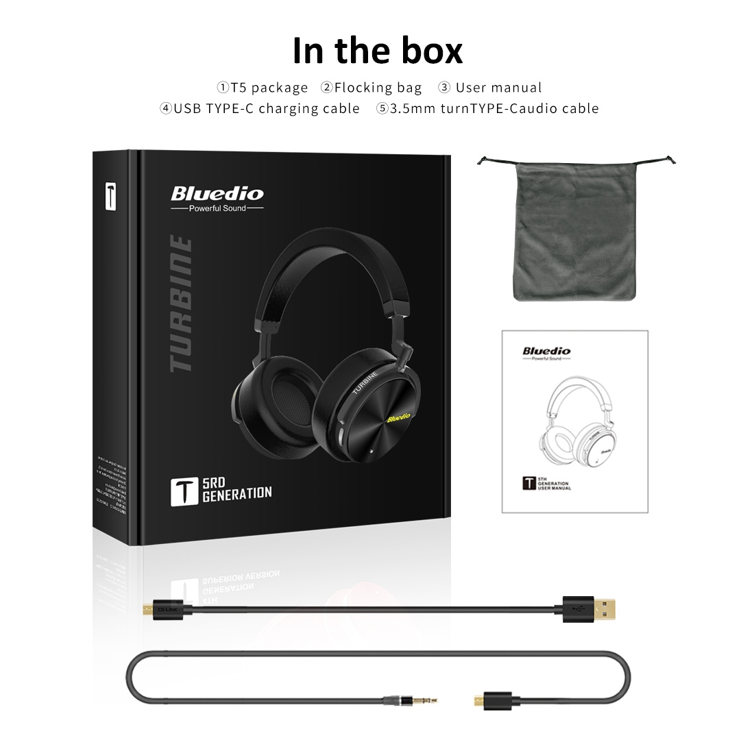 Bluedio T5 Wireless Bluetooth Headphones with Microphone