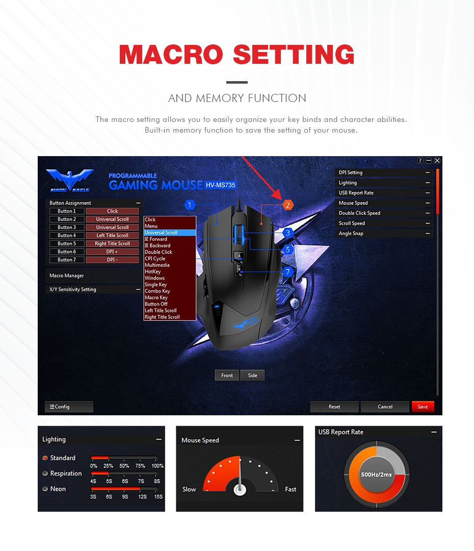 Havit HV-MS735 MMO Wired Gaming Mouse