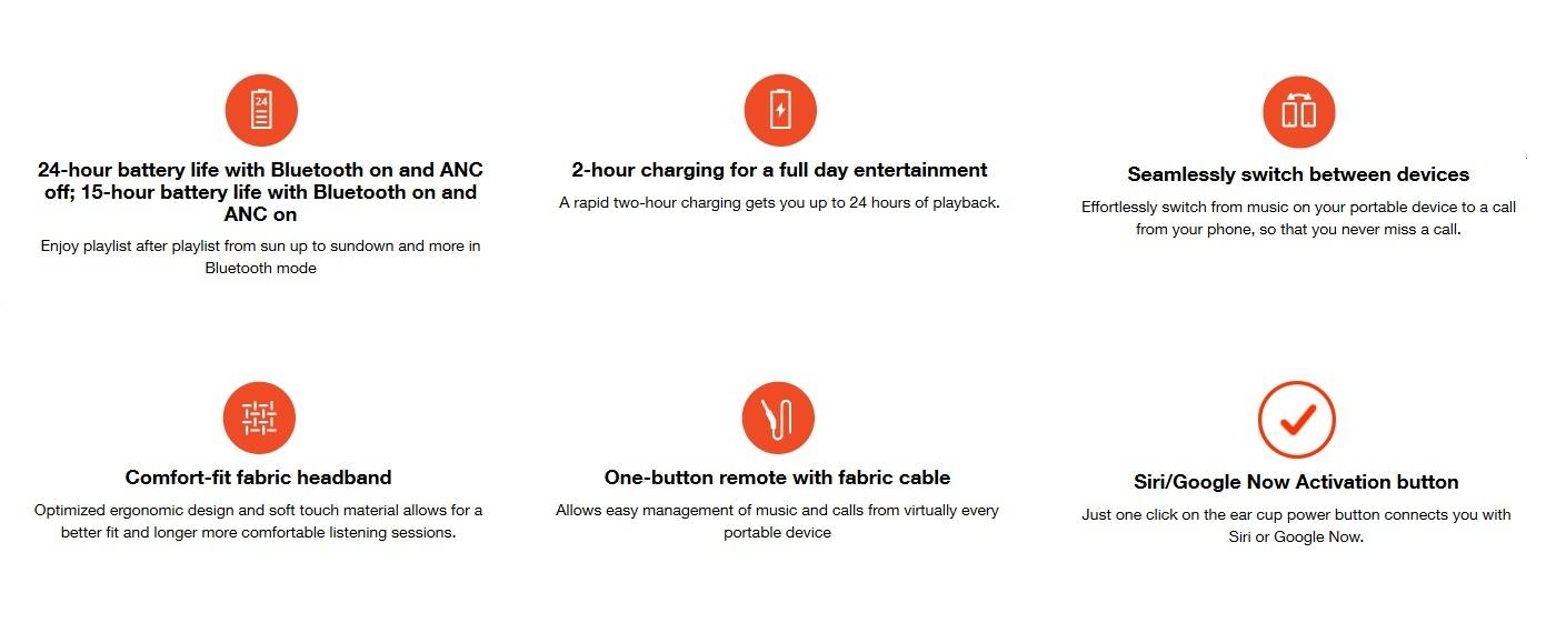 JBL E65BTNC Wireless Over-Ear Noise Cancellation Headphones Earphones Bluetooth