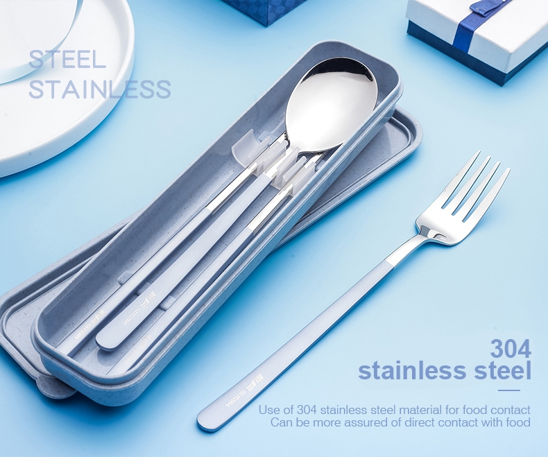 Qifeng Stainless Steel Cutlery Set Fork Spoon Chopsticks Travel Takeaway Lunch