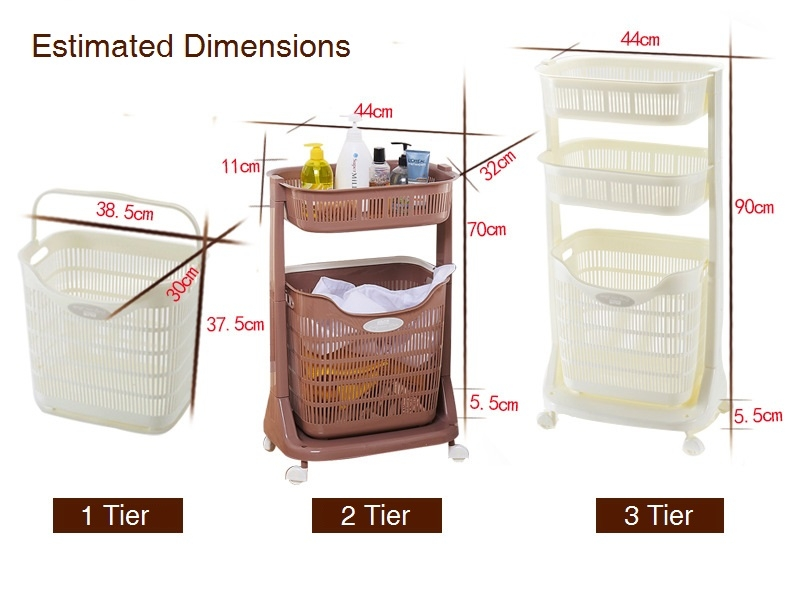 3 tier laundry basket sorter with wheels bathroom multi function service yard dirty clothes