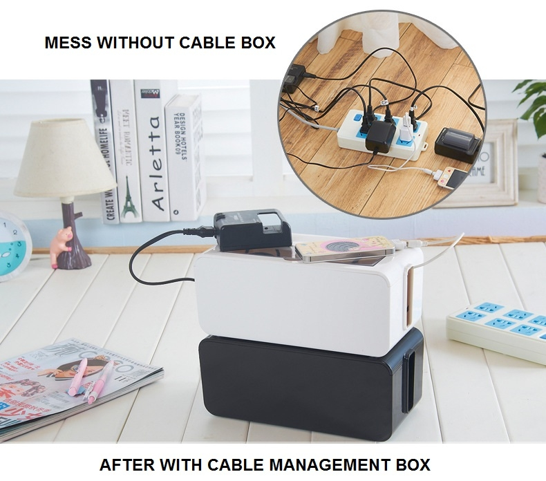 Maihui Cable Management Box with Lid Organizer Adapter Extension Socket