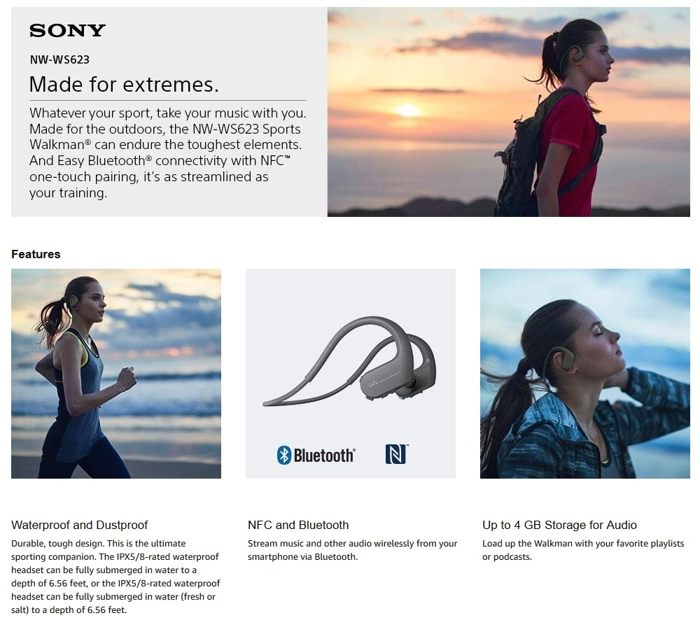 Sony NW-WS623 WS623 Bluetooth Waterproof and Dustproof Walk Headphones Earphone Music Player 4GB MP3