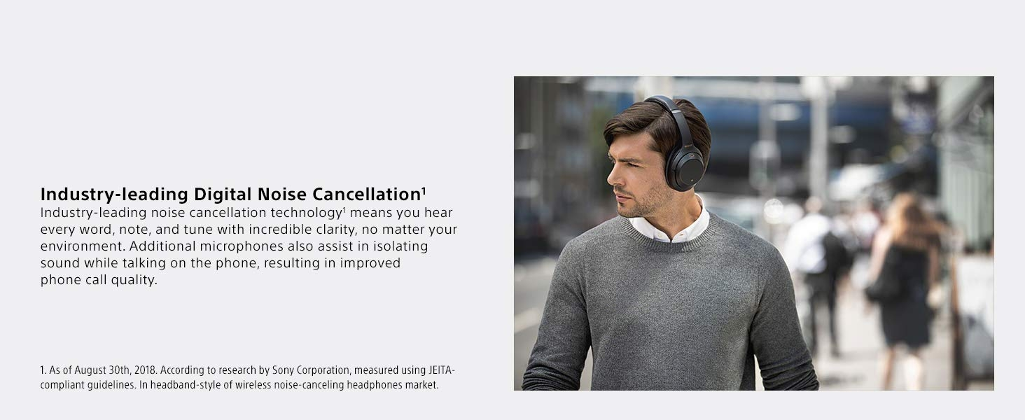 SONY WH-1000XM3 Wireless Noise Cancelling Headphones Bluetooth Hi-Res Audio Adaptive Sound Control Equaliser Voice Assistant Foldable Comfortable